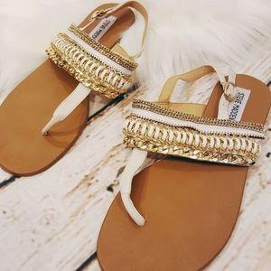 Steve Madden White & Gold Chain Sandals Sz 9